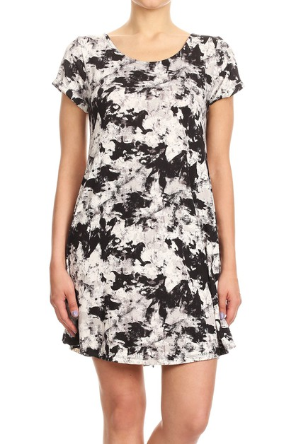 Tie Dye Black White Womens Dresses - orangeshine.com