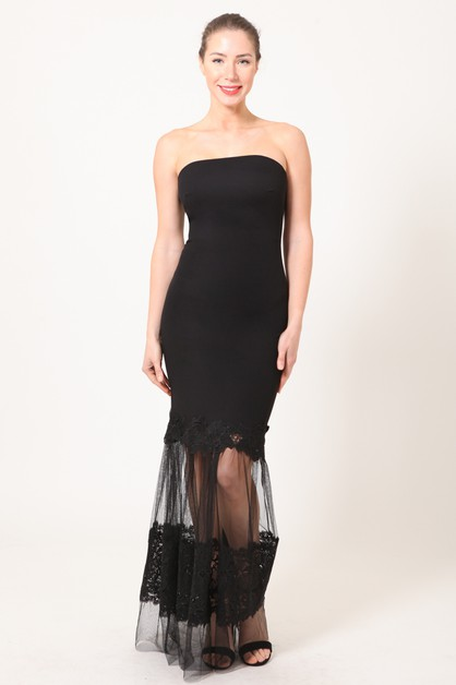 TUBE DRESS WITH MESH LACE BOTTOM - orangeshine.com