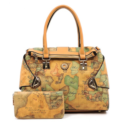Map Printed 3-in-1 Satchel - orangeshine.com