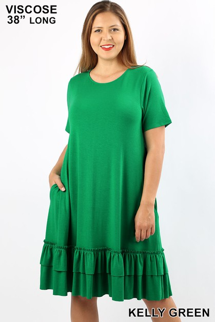 PLUS VISCOSE POCKET RUFFLE HEM DRESS - orangeshine.com