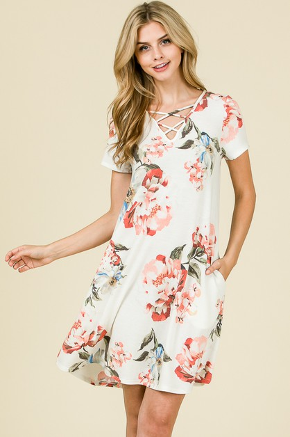 CRISSCROSS FLORAL DRESS  - orangeshine.com