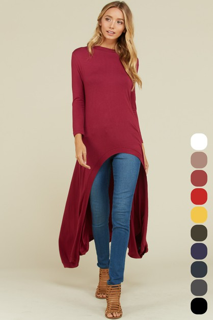 Flowy Long Sleeves Hi-Low Tunic Top - orangeshine.com
