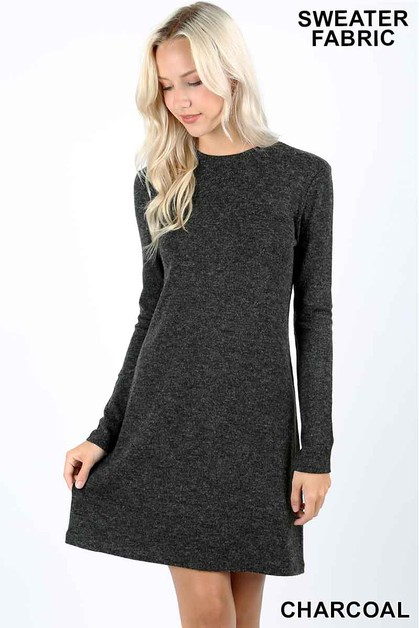 LONG SLEEVE SWEATER DRESS - orangeshine.com
