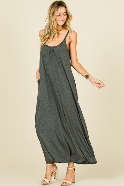 DRAPE DETAIL MAXI DRESS - orangeshine.com