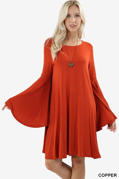 PREMIUM BELL SLEEVE SWING DRESS - orangeshine.com