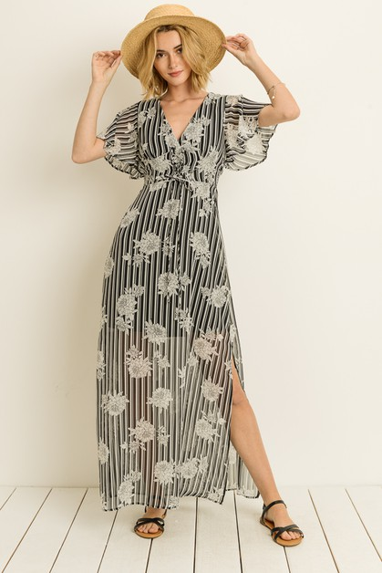 Stripe Floral Maxi Dress  - orangeshine.com