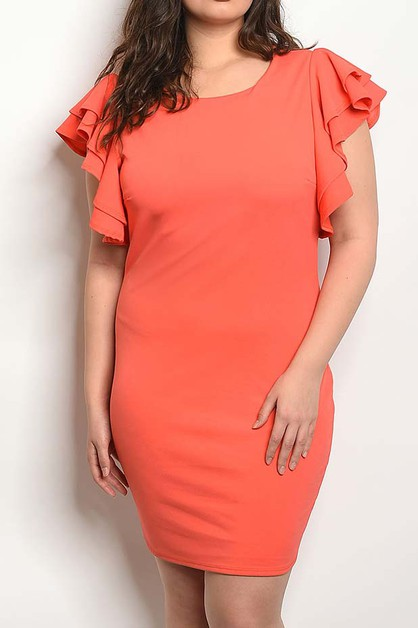 RUFFLE SLEEVE SOLID PLUS DRESS - orangeshine.com