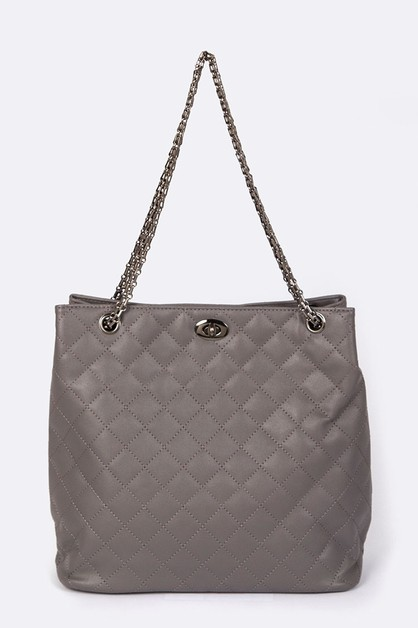 Quilted Chain Strap Fashion Tote - orangeshine.com
