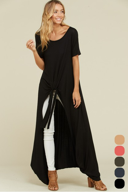 High-Low Maxi Tunic Front Tie Top - orangeshine.com