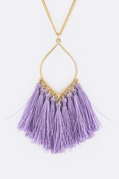 Fringe Tassels Leaf Pendant Necklace - orangeshine.com