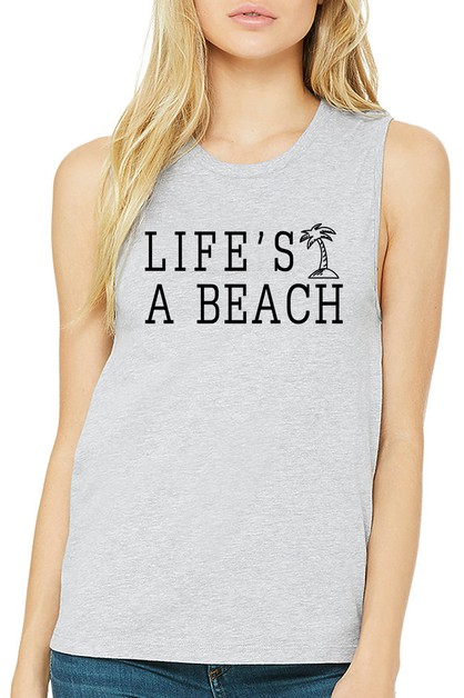 LIFES A BEACH MUSCLE TANK - orangeshine.com