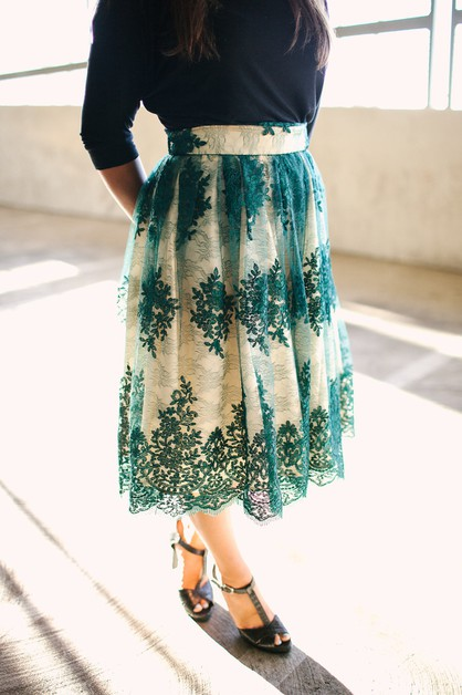 Jessica Skirt - Green Lace Plus - orangeshine.com