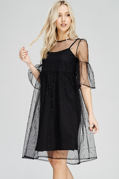 Pearl Embellished Sheer Mesh Dress - orangeshine.com
