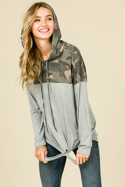 CAMO HOODED FRONT TIE TOP  - orangeshine.com