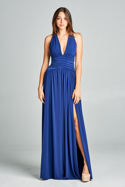 V-Neck Long Dress - orangeshine.com