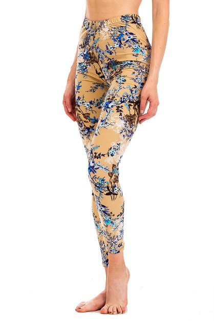 Peach Skin Floral Crop Leggings - orangeshine.com