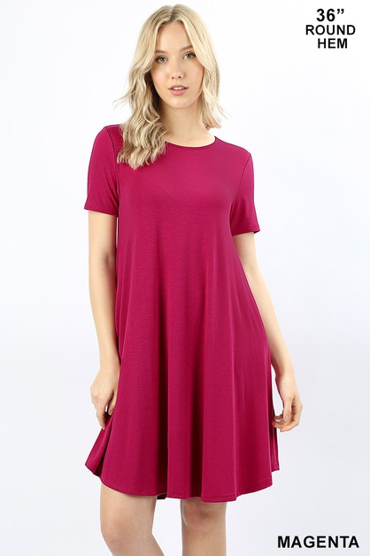 SHORT SLEEVE ROUND HEM A-LINE DRESS  - orangeshine.com