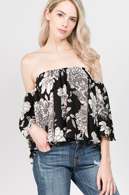 Floral Off Shoulder Ruffle Sleeve To - orangeshine.com