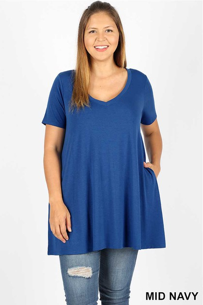 V NECK FLARED TOP WITH POCKETS - orangeshine.com