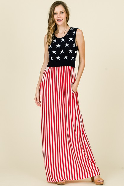AMERICAN FLAG MAXI DRESS  - orangeshine.com