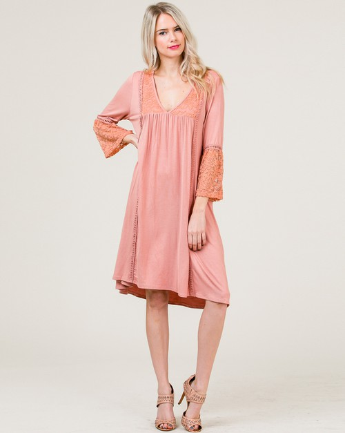 Lace Contrast Loose Fit Dress - orangeshine.com