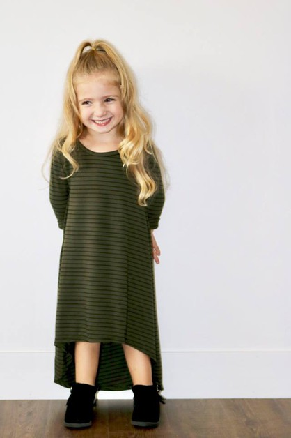 Lucey Dress - Little Girls Olive - orangeshine.com
