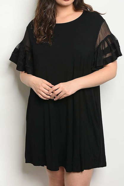 BELL SLEEVE LOOSE FIT PLUS DRESS - orangeshine.com