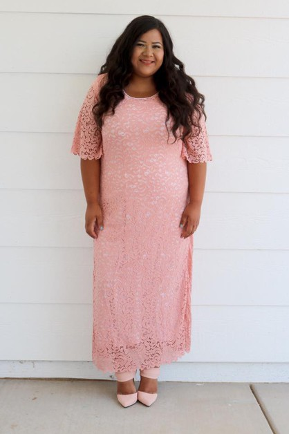 Dayna Dress - Mauve Lace Maxi Plus - orangeshine.com
