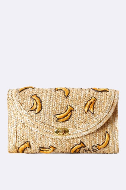 Embroidery Banana Raffia Straw Bag - orangeshine.com