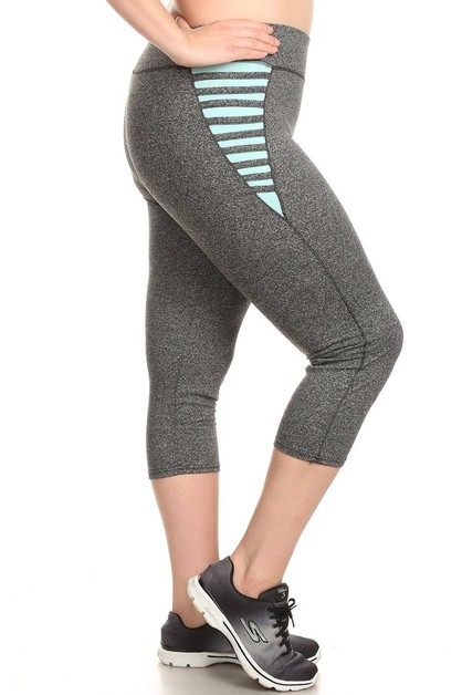 Plus Size Sports Capri Legging Cross - orangeshine.com