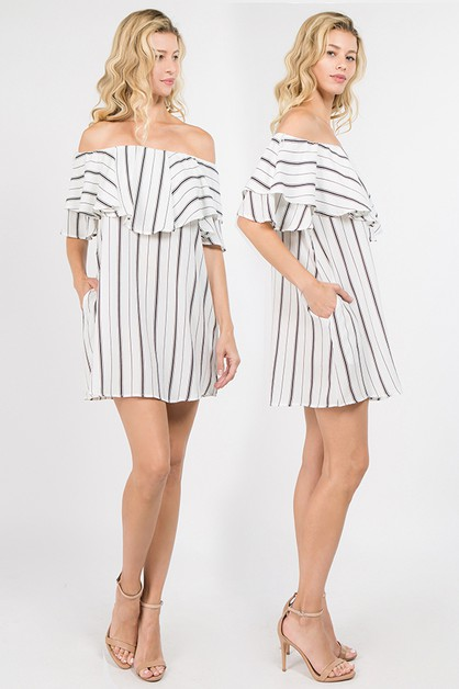 Chic Stripe Off Shoulder Ruffle Dres - orangeshine.com