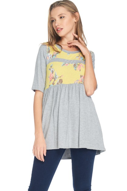 Short Sleeve Floral Tunic Top - orangeshine.com