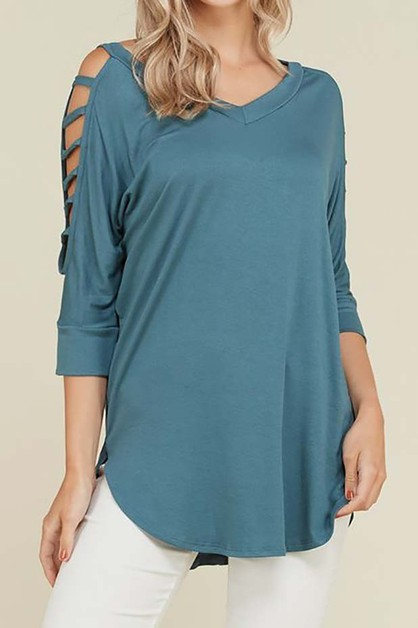 WIDE V NECK CUTOUT DETAIL SLEEVE TOP - orangeshine.com