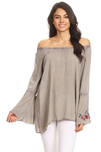 OFF SHOULDER FLOWER EMB BELL LS - orangeshine.com