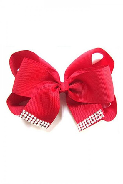 Rhinestone Accent Bow Hair Clip - orangeshine.com