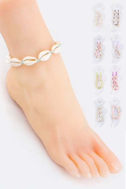 Drawstring Sea Shells Anklet - orangeshine.com