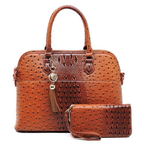 Ostrich Croc 2-in-1 Dome Satchel - orangeshine.com