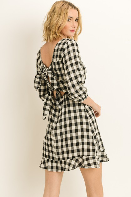 Gingham Check Knotted Dress - orangeshine.com