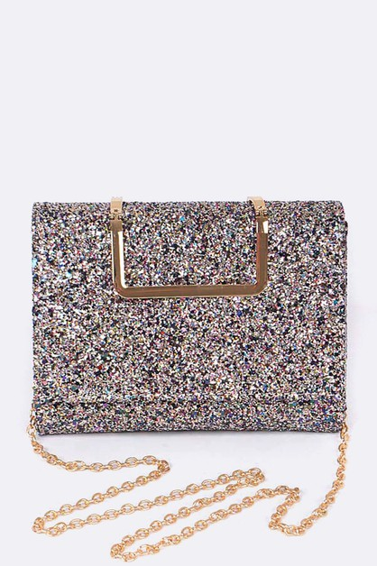 Glittered Gold Clasp Envelope Clutch - orangeshine.com