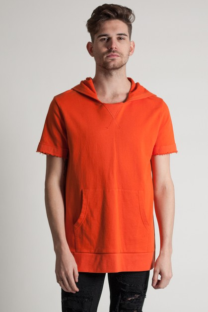 LONG SLIM KANGAROO PKT HOODIE TOP - orangeshine.com
