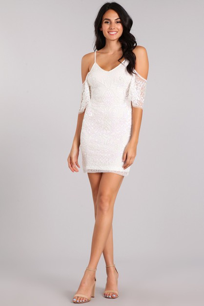 Sequin Embellished Mini Dress - orangeshine.com