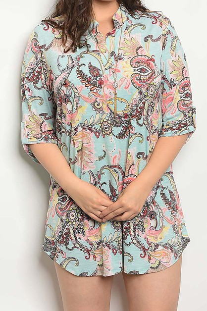 PAISLEY PRINT ROLL UP SLEEVE DRESS - orangeshine.com