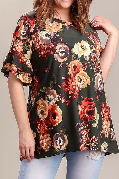 BELL SLEEVE FLORAL PLUS SIZE TUNIC - orangeshine.com