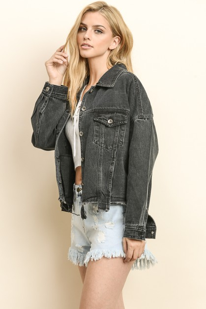 DENIM JACKET WITH DETACHABLE FUR - orangeshine.com
