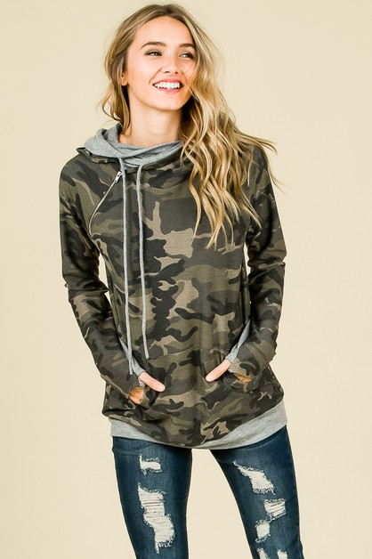 CAMO SIDE ZIPPER HOODIE  - orangeshine.com