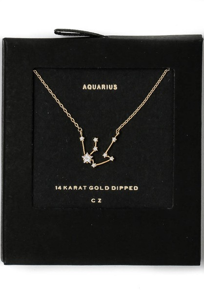 14K CZ Constellation Zodiac Necklace - orangeshine.com