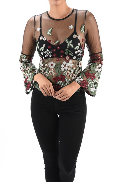 Long Bell Sleeve Floral Mesh Top - orangeshine.com