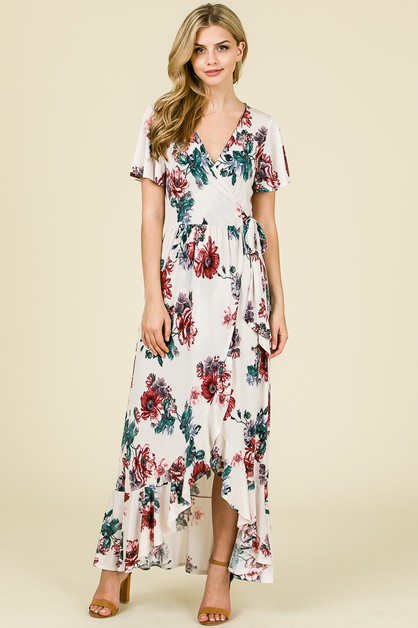 FLORAL RUFFLED HEM DRESS  - orangeshine.com