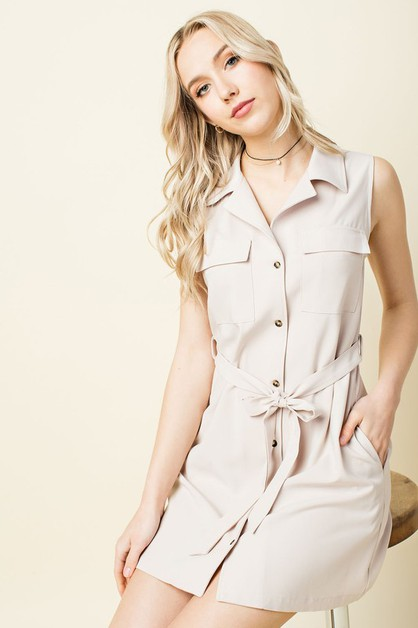 Belted Button Down Cargo Dress - orangeshine.com