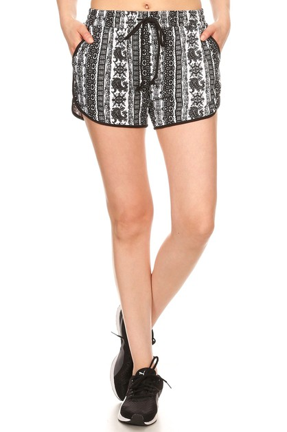 Boho Paisley Sports Shorts Active - orangeshine.com